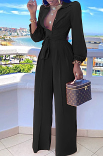 Black Fashion Long Sleeve Lapel Collar Solid Color With Waistband Wide Leg Jumpsuits OMY80035-4