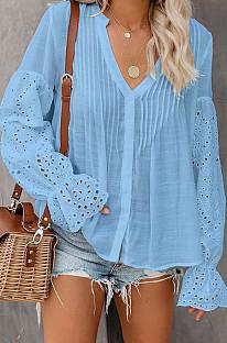 Blue Summer Chiffon Horn Sleeve V Collar Single-Breasted Loose Solid Colur Shirts MDO001-3