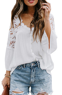 White New Lece Hook Flower Embroidered Hollow Out Horn Sleeve V Neck Loose Shirts MDO1740-1
