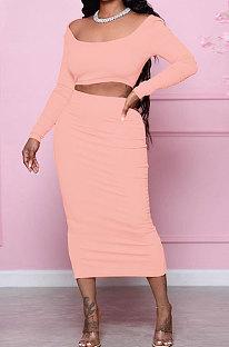Orange Fashion Women Pure Color Long Sleeve Backless Split Skirts Sets NL6088-1