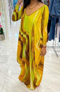 Yellow Women Printing Long Sleeve Pocket Mid Waist Loose Long Dress NK258-2