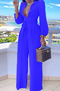 Blue Fashion Long Sleeve Lapel Collar Solid Color With Waistband Wide Leg Jumpsuits OMY80035-6