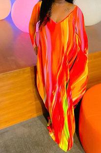 Red Women Printing Long Sleeve Pocket Mid Waist Loose Long Dress NK258-1