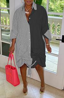 Black Casual Women Stripe Spliced Long Sleeve Lapel Neck Single-Breasted Loose Shirt Dress WY6839-3