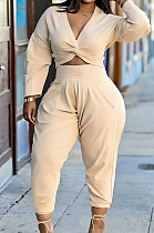 Beige Casual Women Long Sleeve Deep V Collar Crop Top High Waist Carrot Pants Solid Color Two-Piece HXY68016-2