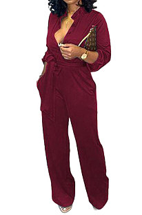 Wine Red Euramerican Women Sexy Pure Color Long Sleeve Tied Casual jumpsuits LD8602-5