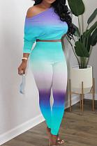 Purple Cyan Cotton Blend Gradient Long Sleeve Obique Shoulder Dew Belly High Waist Tight Pants Sport Sets HXY8032-3