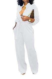 White Euramerican Women Sexy Pure Color Long Sleeve Tied Casual jumpsuits LD8602-1