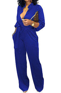 Blue Euramerican Women Sexy Pure Color Long Sleeve Tied Casual jumpsuits LD8602-4