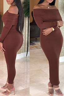 Brown Sexy Knitting Long Sleeve A Word Shoulder Slim Fitting Solid Color Bodycon Dress SY8823