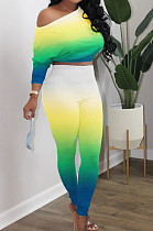 Yellow Green Cotton Blend Gradient Long Sleeve Obique Shoulder Dew Belly High Waist Tight Pants Sport Sets HXY8032-2