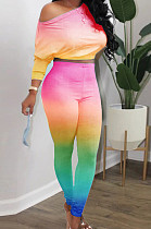 Pink Red Green Cotton Blend Gradient Long Sleeve Obique Shoulder Dew Belly High Waist Tight Pants Sport Sets HXY8032-5
