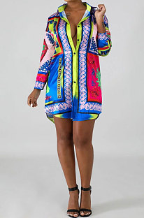 Green Pink Women Fashion Printing Casual Bodycon Long Sleeve  Shirts YZ1794