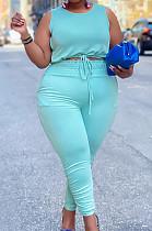 Sky Blue Cotton Blend Round Collar Sleeveless Bandage Tank High Waist Bodycon Pants Plus Two-Piece YFS10013-5