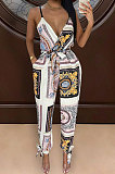 Pink Euramerican Women Fashion Printing Condole Belt V Neck Casual Jumpsuit WME2068-1