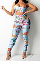 Blue Sexy Women Fashion Printing Tight Condole Belt Backless Long Pants Sets YZ7034-2
