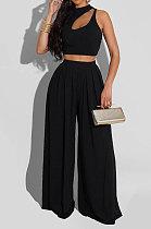 Black Women Sleeveless Solid Color Round Neck Dew Waist Pants Sets KZ2123-4