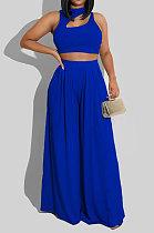 Blue Women Sleeveless Solid Color Round Neck Dew Waist Pants Sets KZ2123-5