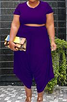 Purple Cotton Blend Women Short Sleeve Round Neck Crop Top High Waist Haroun Pants Plus Sets P8638-2