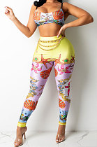 Scallops Sexy Women Fashion Printing Tight Condole Belt Backless Long Pants Sets YZ7034-1