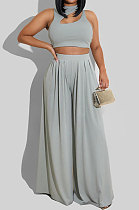 Gray Women Sleeveless Solid Color Round Neck Dew Waist Pants Sets KZ2123-3