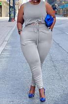 Grey Cotton Blend Round Collar Sleeveless Bandage Tank High Waist Bodycon Pants Plus Two-Piece YFS10013-4