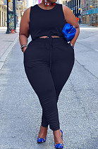 Black Cotton Blend Round Collar Sleeveless Bandage Tank High Waist Bodycon Pants Plus Two-Piece YFS10013-3