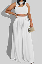 White Women Sleeveless Solid Color Round Neck Dew Waist Pants Sets KZ2123-1