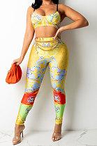 Sexy Women Fashion Printing Tight Condole Belt Backless Long Pants Sets YZ7034-3