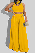 Yellow Women Sleeveless Solid Color Round Neck Dew Waist Pants Sets KZ2123-2