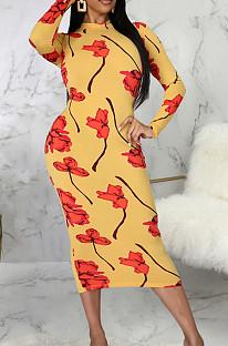 Yellow Digital Printing Long Sleeve Round Collar Zipper Bandage Bodycon Dress SMR10491
