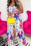 Blue Green Women Trendy Printing Tie Dye Condole Belt Loose Casual Jumpsuits AMN8019-3