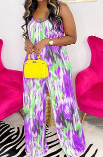 Purple Green Women Trendy Printing Tie Dye Condole Belt Loose Casual Jumpsuits AMN8019-2
