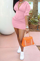 Pink Euramerican Solid Color Single-Breasted Hoodie Pocket Long Sleeve Skirts Sets QMQ7059-2