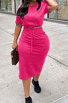 Rose Red Women Pure Color Short Sleeve Round Neck Bandage Split Skirts Sets QMQ7061-3