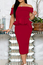 Red Elegant Fashion A Wrod Shoulder Slim Fitting Ruffle Top Tight Slit A Line Skirts Sets A8402-1