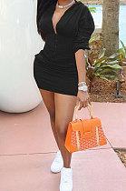 Black Euramerican Solid Color Single-Breasted Hoodie Pocket Long Sleeve Skirts Sets QMQ7059-3