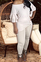 White New Women Ruffle Sleeve Round Collar Loose T-Shorts Bodycon Pants Solid Color Sets HXY8034-1