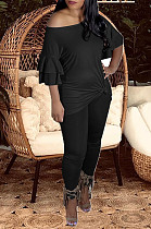 Black New Women Ruffle Sleeve Round Collar Loose T-Shorts Bodycon Pants Solid Color Sets HXY8034-2