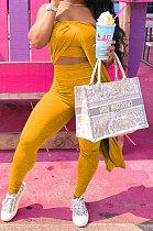 Yellow Euramerican Women Fashion Irregular Strapless Mantle Solid Color Pants Sets QHH8661-2