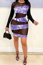 Purple Printing Mesh Spaghetti Spliced Perspectivity Long Sleeve Round Neck Club Mini Dress WMZ2652-4