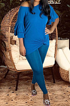 Peacock Blue New Women Ruffle Sleeve Round Collar Loose T-Shorts Bodycon Pants Solid Color Sets HXY8034-3