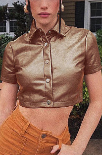 Brown Women Pure Color Short Sleeve Turn-DownCollar Buttons Crop Tops FWB141-2