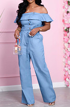 Light Blue Wholesal Women A Wrod Shoulder Single-Breasted Strapless Top Hight Waist Loose Pants Jeans Sets HXY8036-2