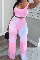 Multicolor Women Fashion Tie Dye Printing Tank Pants Sets SMY8025