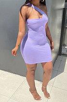 Purple Women Solid Color Irregular Sexy Tight High Elastic Off Shoulder Mini Dress KZ2126-2