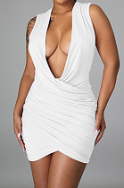 White Sexy Sleeveless Low-Cut Ruffle Slim Fitting Solid Color Hip Dress P8617-1