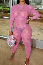 Pink Night Club Mesh See-Through Long Sleeve Round Neck Zip Back Bodycon Jumpsuits CM2152-4