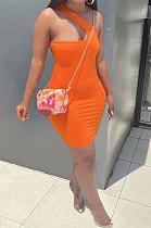 Orange Women Solid Color Irregular Sexy Tight High Elastic Off Shoulder Mini Dress KZ2126-1