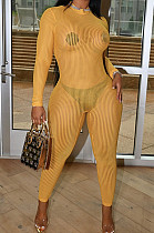 Yellow Night Club Mesh See-Through Long Sleeve Round Neck Zip Back Bodycon Jumpsuits CM2152-2